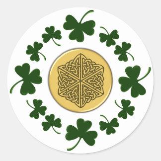 CUSTOMIZABLE!  Shamrocks - Gold Irish Celtic Round Sticker