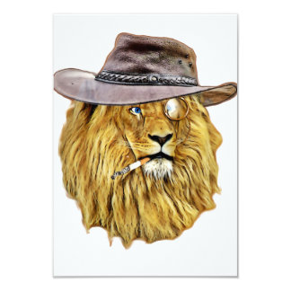 "Cute and Funny Lion 3.5"" X 5"" Invitation Card"