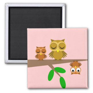 cute and funny owls square magnet