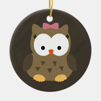 Cute Baby Girl Owl with Pink Bow Round Ceramic Ornament