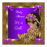 """Cute Baby Shower Baby Girl Leopard Purple Gold 2 5.25"""" Square Invitation Card"""