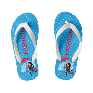 Cute beautiful girl in Paris illustration Kid's Flip Flops