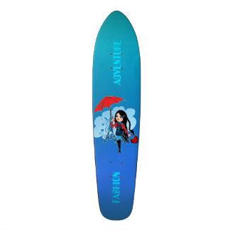 Cute beautiful girl in Paris illustration Skateboard