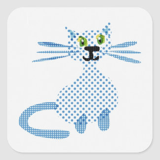 Cute  blue and white spot cat square sticker