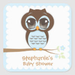 Cute Blue Owl Baby Shower for a Boy Square Sticker