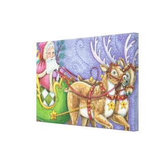 Cute Cartoon Christmas Santa Claus Sleigh Reindeer Canvas Print