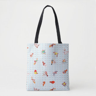 Cute cartoon finches pattern tote bag
