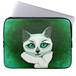 Cute cat with attitude laptop sleeve