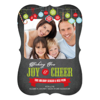 "Cute Chalkboard Family Christmas Photo Card 5"" X 7"" Invitation Card"