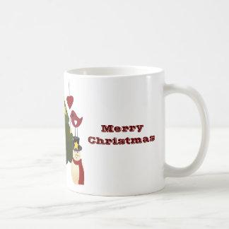 Cute Christmas Holidays Tree Snowman Stars Bird Classic White Coffee Mug
