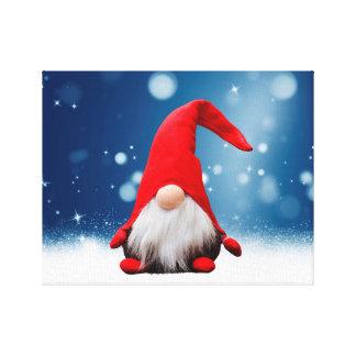 Cute Christmas Santa Snow Stars Gallery Wrapped Canvas