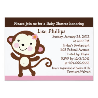 Cute Dancing Monkey Girl Baby Shower Invitation