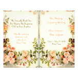 cute floral wedding program,roses full color flyer