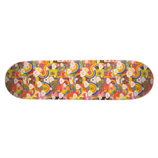 Cute funky harajuku illustration pattern skateboard