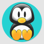 Cute Funny Baby Penguin Round Sticker