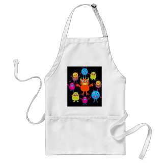 Cute Funny Monster Party Creatures in Circle Standard Apron