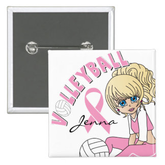 Cute Girl Volleyball Player |Breast Cancer Support 2 Inch Square Button