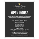 Cute Gold Heart Black Beauty Salon Open House Menu Flyers