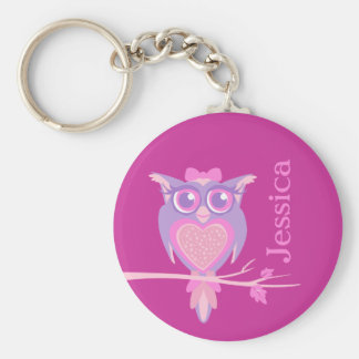Cute graphic owl girls pink name keychain
