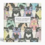 Cute Hipster Cats Pattern 3 Ring Binders