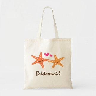 Cute kawaii starfish love cartoon bridesmaid budget tote bag