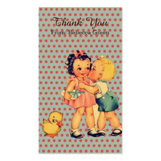 cute little girl boy retro kids birthday party business card