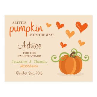 Cute Little Pumpkin Baby Shower Advice Cards Postcard