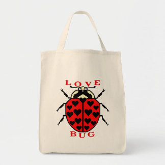 Cute Love Bug Valentine's Day Ladybug Grocery Tote Bag