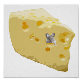Cute mouse in Swiss cheese Poster