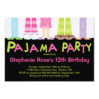 Cute Pajama Party Birthday Party Invitations