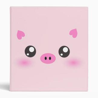 Cute Pig Face - kawaii minimalism Vinyl Binder