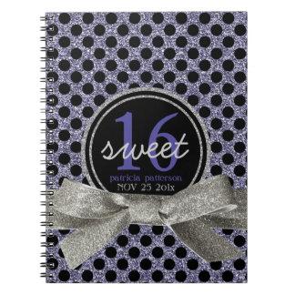 Cute Polkadot Sweet 16 Purple and Black Spiral Note Books