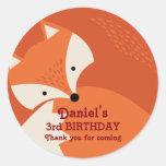 Cute Red Fox Cartoon Animals Birthday Stickers