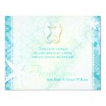 "Cute Sea Horse Couple Wedding Thank You 4.25"" X 5.5"" Invitation Card"