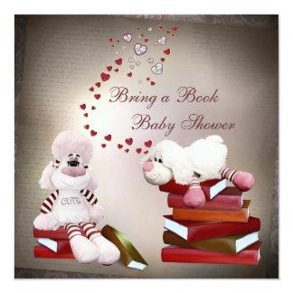 "Cute Sheep Bring a Book Baby Shower 5.25"" Square Invitation Card"