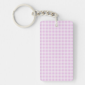 Cute Soft Rose Pink White Gingham Check Pattern Single-Sided Rectangular Acrylic Keychain