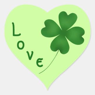 Cute St. Patrick's Day lucky shamrock Heart Sticker