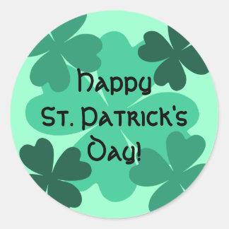 Cute St Patrick's Day lucky shamrocks Round Sticker