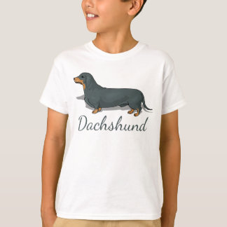Dachshund Black And Brown Cartoon Dog T-Shirt