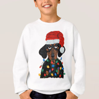 Dachshund Santa Tangled In Christmas Lights T-shirt