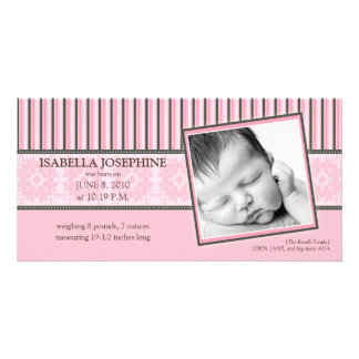 Damask & Stripes Baby Pink Birth Announcement Personalized Photo Card