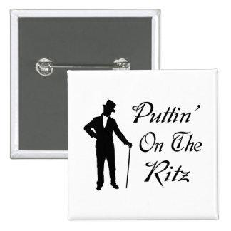 Dapper Man Puttin On The Ritz 2 Inch Square Button