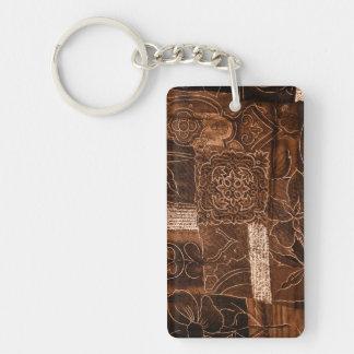 Dark Brown Patchwork Single-Sided Rectangular Acrylic Keychain