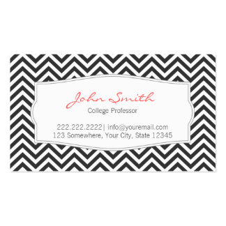 Dark Gray Chevron Stripes Professor Business Card