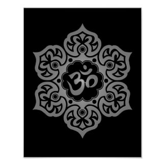 Dark Lotus Flower Om Poster