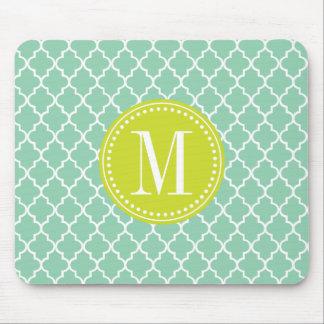 Dark Mint Moroccan Tiles Lattice Personalized Mouse Pad