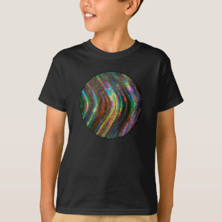 Dark Shiny Holographic Wave Pattern Pixel Tshirt