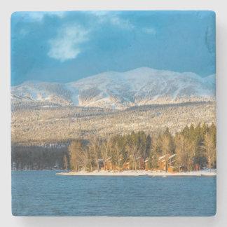 Days Last Light Shines On Ski Runs Of Whitefish Stone Coaster