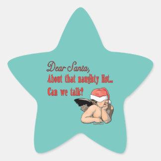 Dear Santa Naughty List Star Sticker