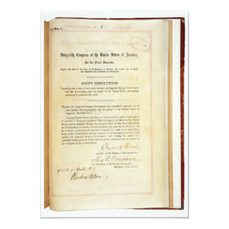 "Declaration of War against Germany April 5 1917 5"" X 7"" Invitation Card"